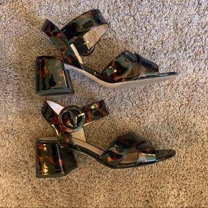 J Crew Tortoise Shell Block Heel Sandals
